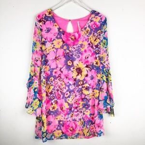 My Story sheer floral bell sleeve mini dress.